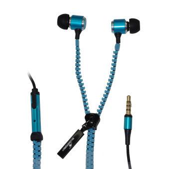 BLUESTORK Casque intra avec micro BZIP câble fermeture éclair - Blue¬